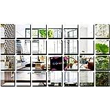 Bikri Kendra® Big Square Silver 28-3D Acrylic Mirror Wall Decor Stickers(10.10x10.10cm, Multicolour)
