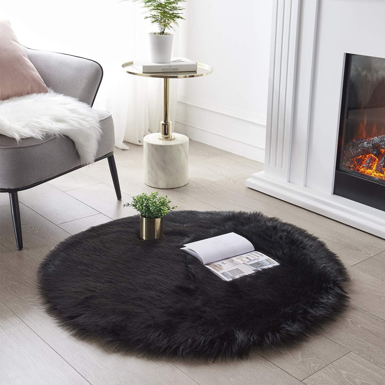 Fluffy Round Shaggy Rug Soft Faux Fur Carpet Living Room Mats Cover Home Decor