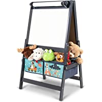 Kids Wooden Table and Chair Set for Toddlers, Double-sided with Blackboard and Whiteboard Standing Wooden Art Easel and Multi-Bin Toy Organizer for Toddlers with Storage Bins for Kids in Pink