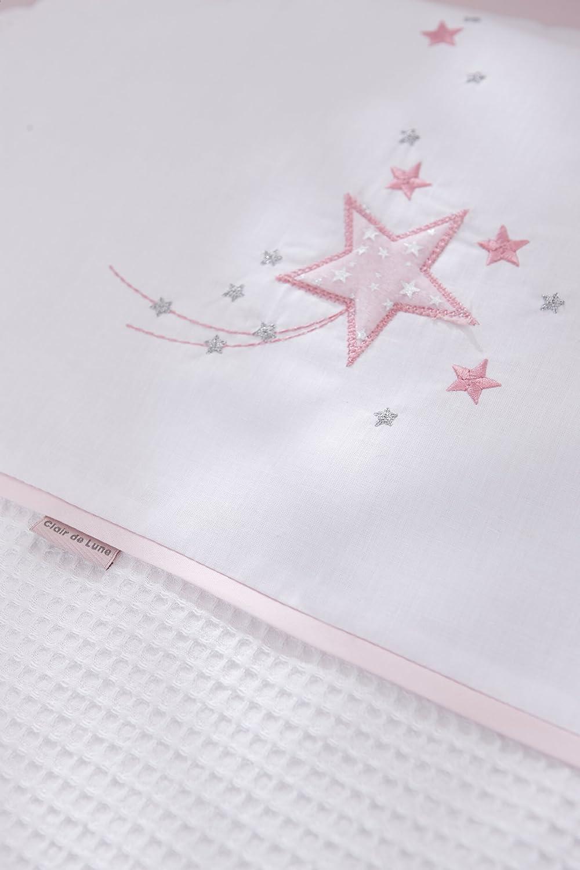 Mattress /& Adjustable Hood Bedding Clair de Lune Stardust Grey Wicker Moses Basket inc