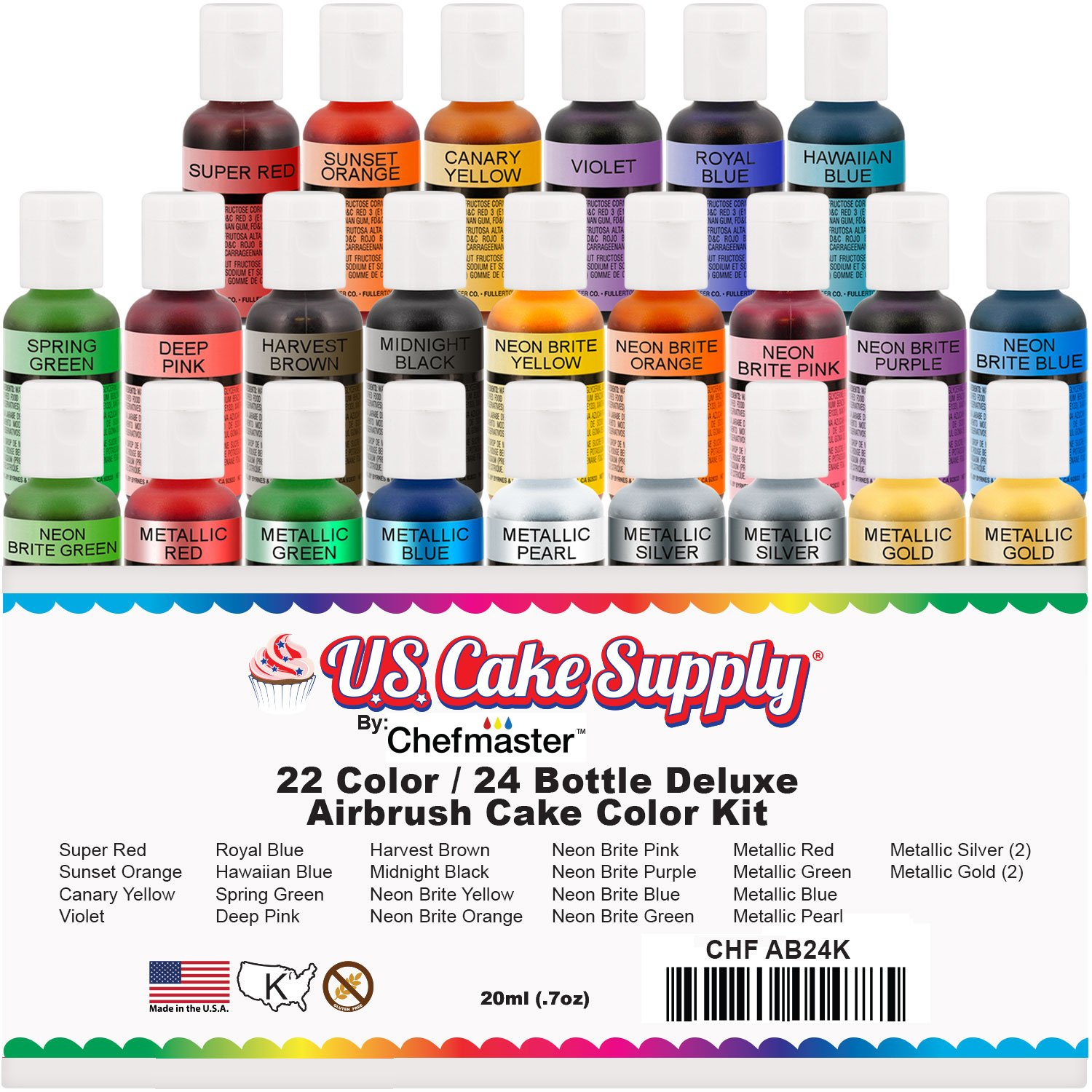 Amazoncom 24 ColorUS Cake Supply by Chefmaster Deluxe 24 Bottle