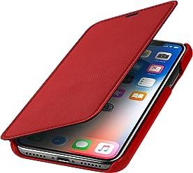 StilGut Custodia per Apple iPhone X/iPhone XS a Libro in Pelle, Rosso Nappa