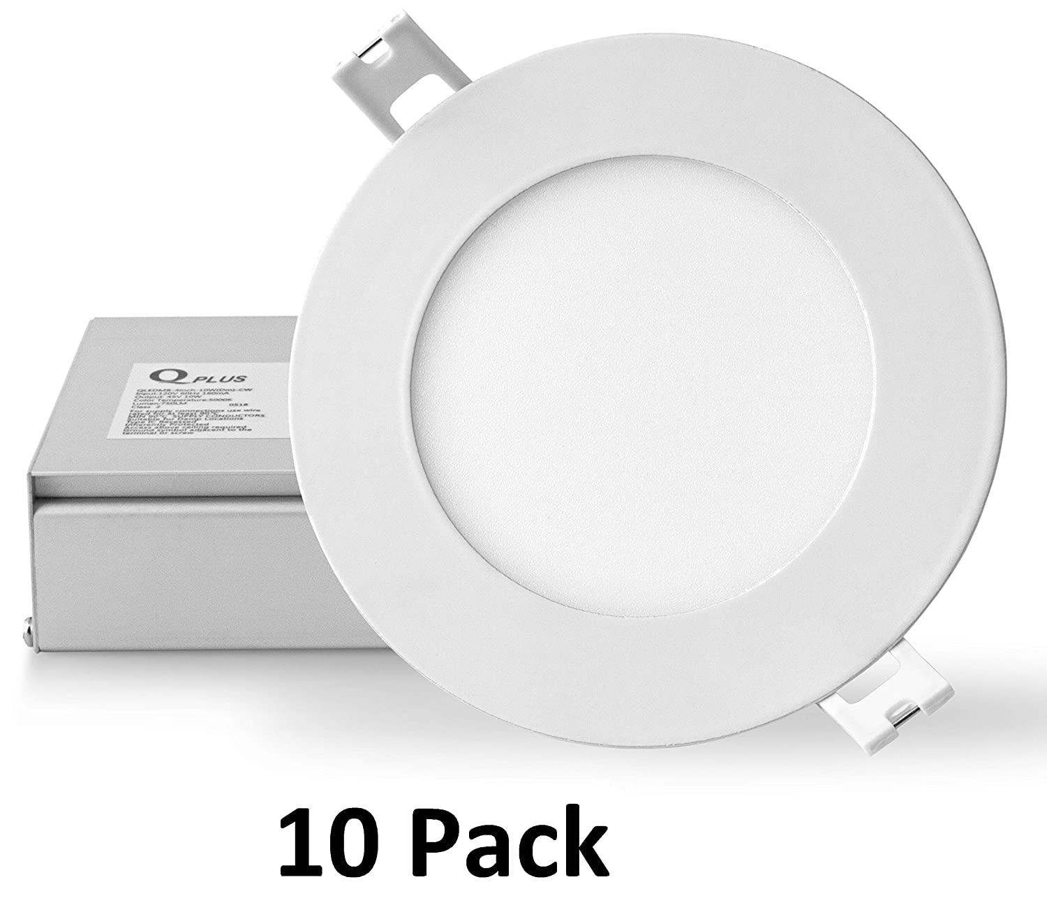 Qplus 4 inch slim recessed led pot light 3000k warm white 10 pack 10w 75w dimmable ic rated cetlus energy star rated ultra thin down