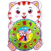 SuperToy(TM) Premium 1 Set Wooden Educational Color Digital Cognitive Learning DIY Clock Model Jigsaw Puzzles Toys Gifts Kids Toys for Children (Kitty)