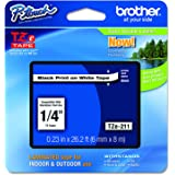 "Brother P-touch ~1/4"" (0.23"") Black on White Standard Laminated Tape - 26.2 ft. (8m)"
