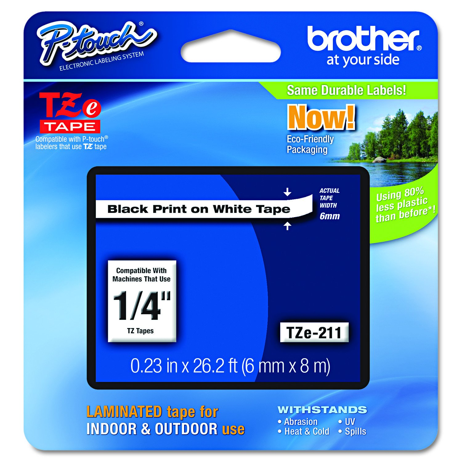"""Brother Genuine P-touch TZE-211 Label Tape 1, 1/4"""" (0.23"""") Standard Laminated P-touch Tape, Black on White, Laminated for Indoor or Outdoor Use, Water Resistant, 26.2 Feet (8M), Single-Pack"""