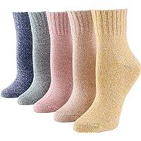 Elonglin 5 Pairs Socks Womens Thermal Wool Cotton Blend Socks Warm Knit for Autumn Winter