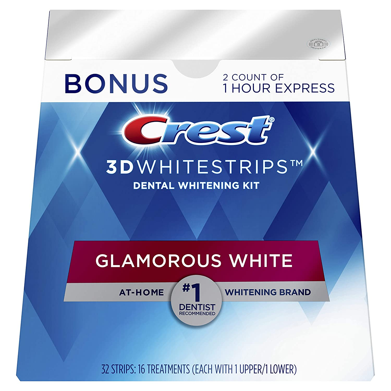 Crest 3D Whitestrips Glamorous White, Dental Whitening Kit, 16 Treatments + 2 Bonus 1-Hour Express Treatments