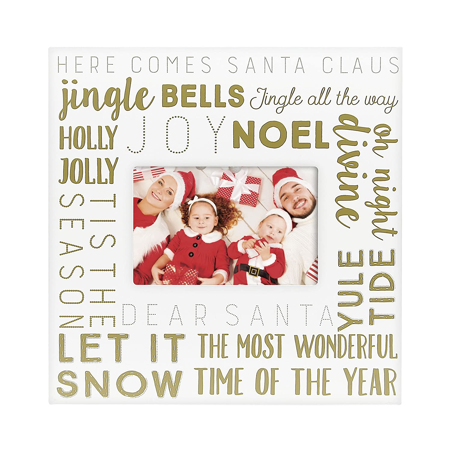 """Gold Text on White Frame Displays one 4/""""x6/"""" Holiday Picture Perfect D/écor for the Holidays Pearhead Family Christmas Keepsake Photo Frame"""