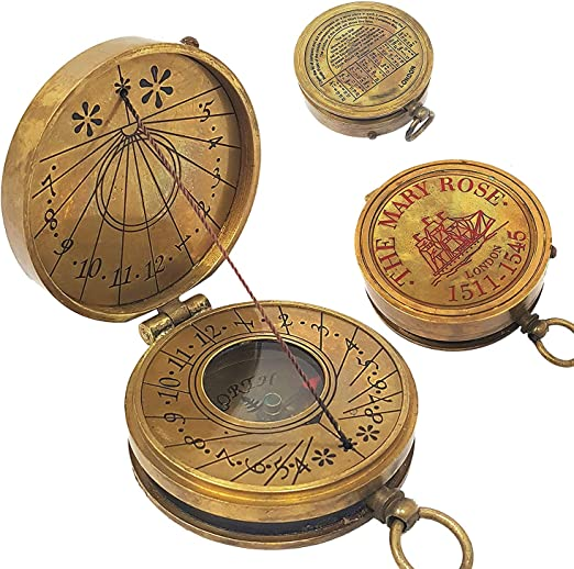 "Antique vintage brass 2/"" compass maritime navigational compass nautical decor"