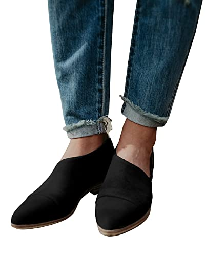 Women Casual Loafer Shoes Pointed Toe Office Casual Slip-On Ankle Boot