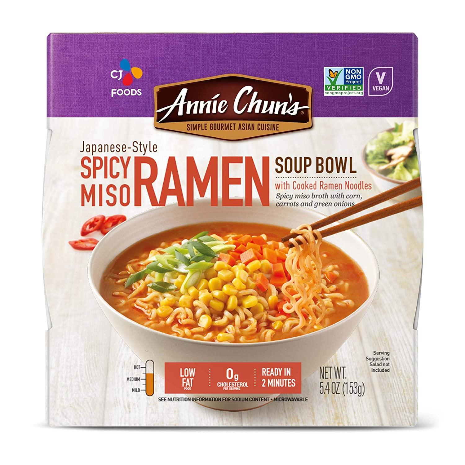 Annie Chun's Spicy Miso Ramen Noodle Bowl | Non-GMO, Vegan, Shelf-Stable (Pack Of 6) | Japanese-Style Savory Ready Meal