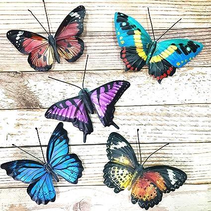 Amazon Com Vokproof Metal Butterfly Wall Decor 5 Pack Butterflies Art Decorations For Outdoor Garden Patio Fence Garden Outdoor