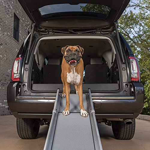 PetSafe Solvit Deluxe Compact Telescoping Pet Ramp or Carrying Case, 28 in. 70 in, Portable Lightweight Aluminum Dog Ramp