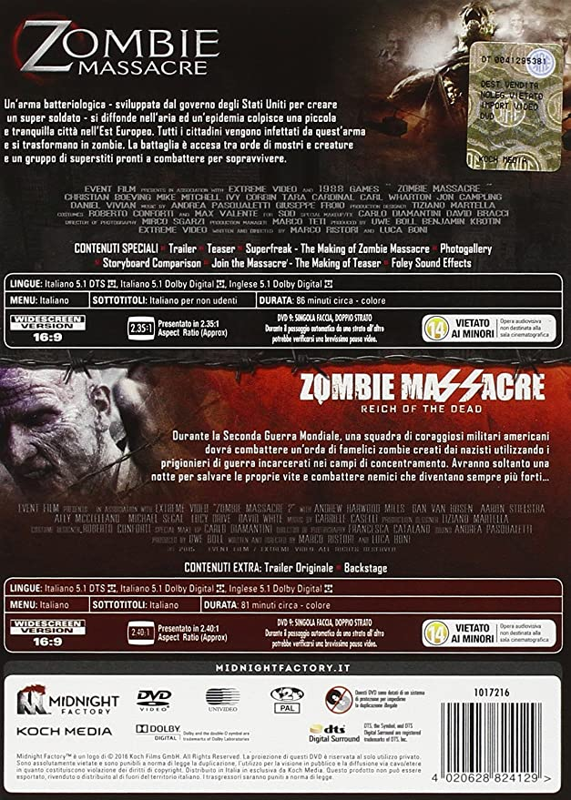 Zombie Massacre Collection Limited Edition 2 Dvd Booklet Box