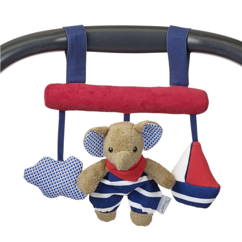 Sterntaler Spielzeug zum Aufhängen mit Klettverschluss, Elefant Erwin, Inklusive Rassel, Alter: Für Babys ab der Geburt, Rot/Blau 6601730