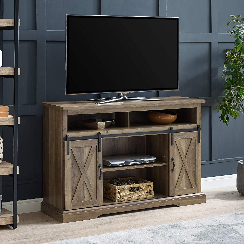 Amazon Com We Furniture Az52hbsbdro Tv Stand 52 Rustic Oak