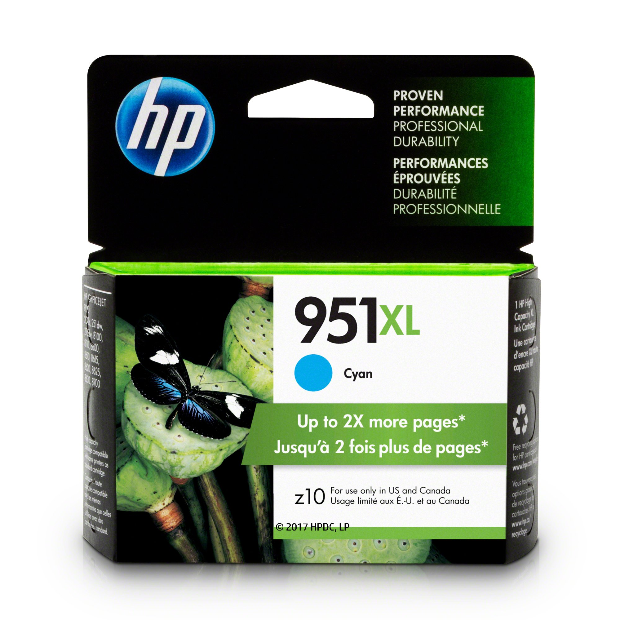 HP CN046AN#140 951XL Ink Cartridge, Cyan High Yield (CN046AN) for Officejet Pro 251, 276, 8100, 8600, 8610, 8620, 8625, 8630