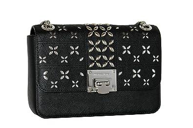 94a7cd3f09b8 MICHAEL Michael Kors Women s TINA Medium Shoulder Flap Leather Evening  Studded Handbag (Black)