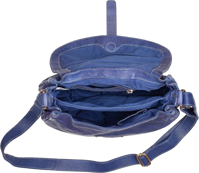 DUDU Schultertasche Groß aus Leder für Damen Retro Vitage mit Klappe und verstellbarem Riemen Pistachio Green Indigo Blue