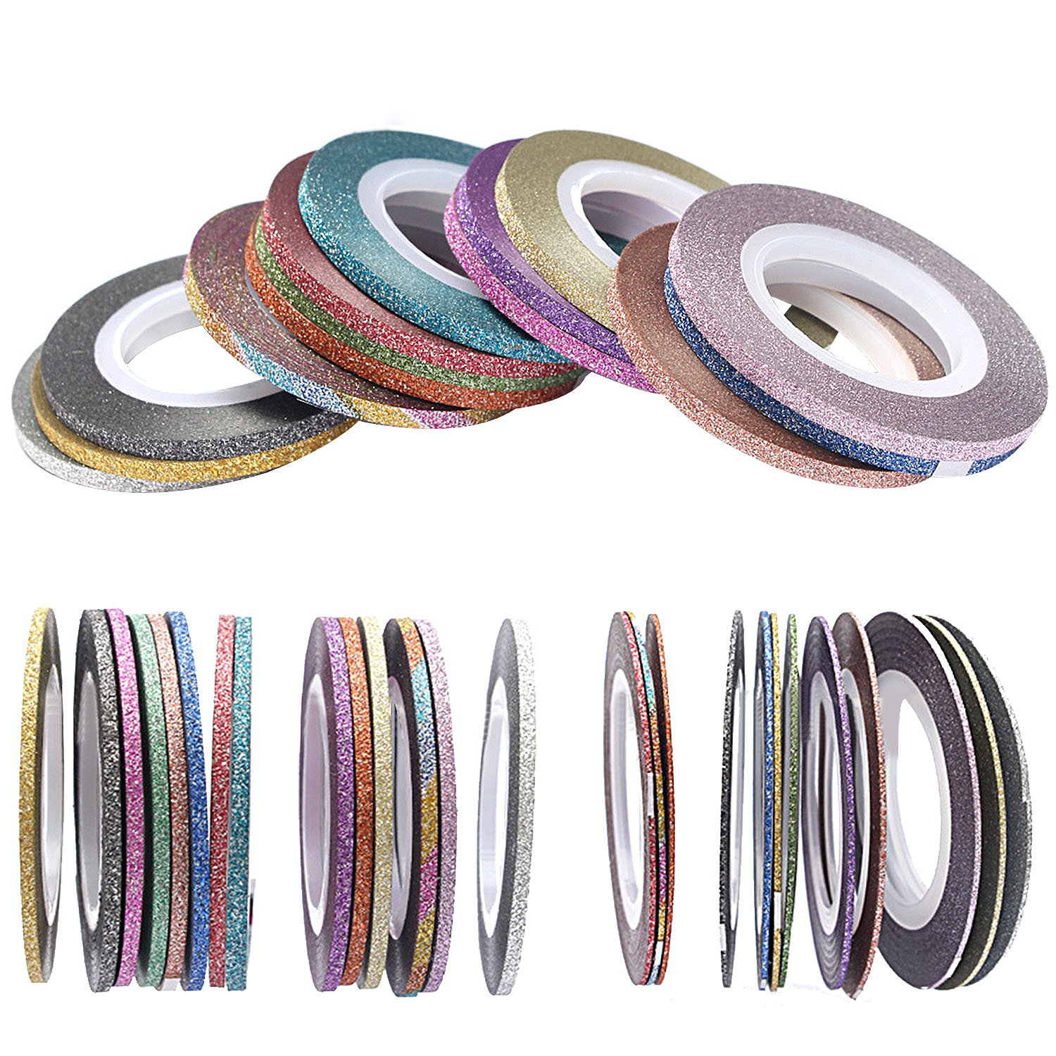 Elisona-42 Rolls Colorful Self-adhesive Nails Decoration Line Nail Art Striping Tape Line Sticker Decoration Accessories