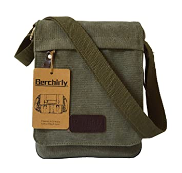0f40ddf10ca Small Canvas Classic Messenger Bag Field Journey Shoulder Bag for  Traveling, Hiking, Camping