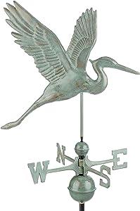 Good Directions Graceful Blue Heron Weathervane, Blue Verde Copper