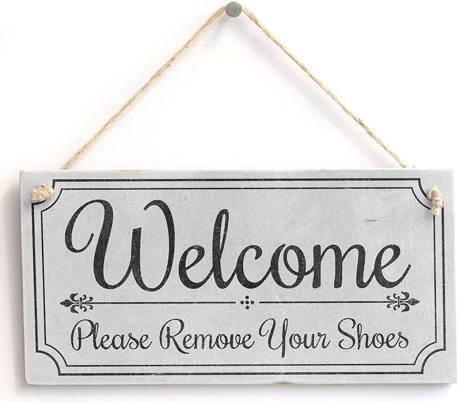 """Meijiafei 'Welcome Please Remove Your Shoes' - Cute Welcome Sign - Vintage PVC Door Sign Plaque 10""""x5"""""""