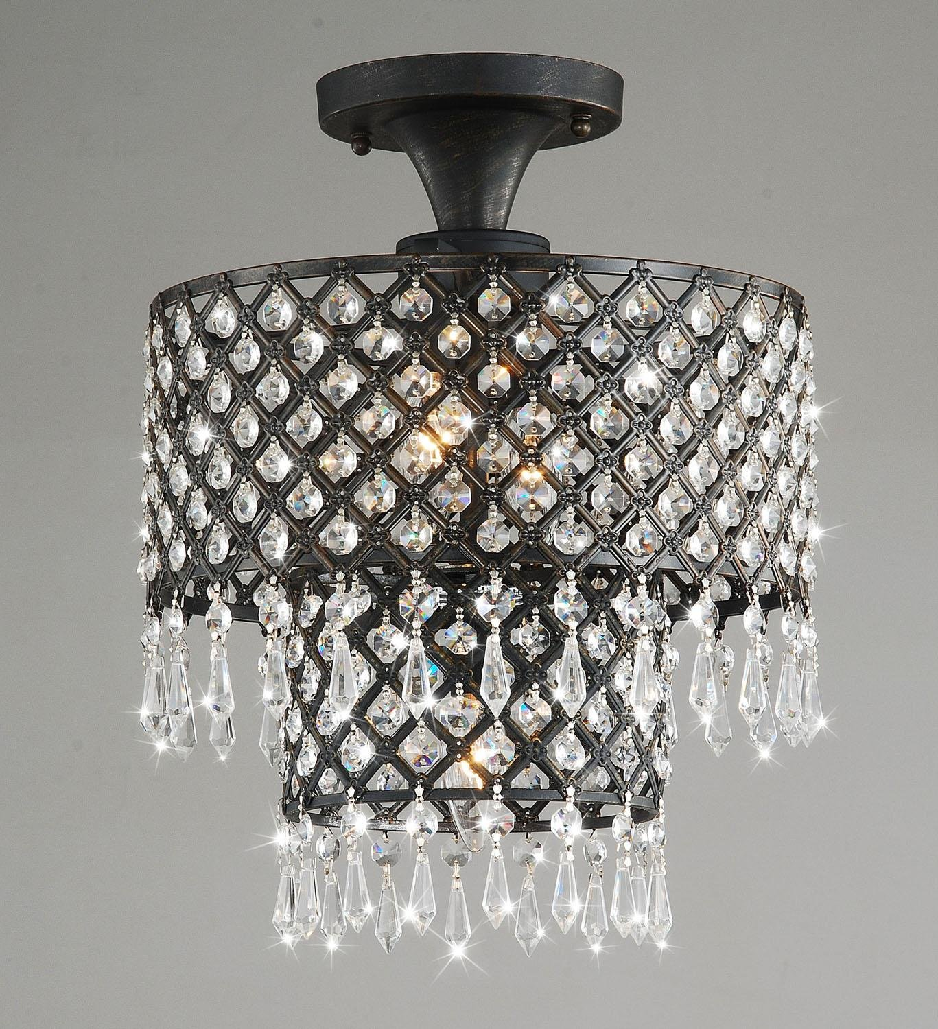 Jojospring melinda 3 light antique black crystal flush mount jojospring melinda 3 light antique black crystal flush mount chandelier amazon arubaitofo Images