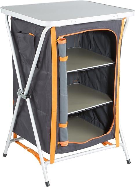 Ultrasport Armario para camping, armario plegable universal para camping, 3 compartimentos, bolsillo lateral y encimera de plástico; armario de tela con bolsa de almacenamiento, rápido de abrir, compacto y fácil de guardar:
