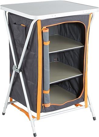 Ultrasport Armario para camping, armario plegable universal para camping, 3 compartimentos, bolsillo lateral y encimera de plástico; armario de tela ...