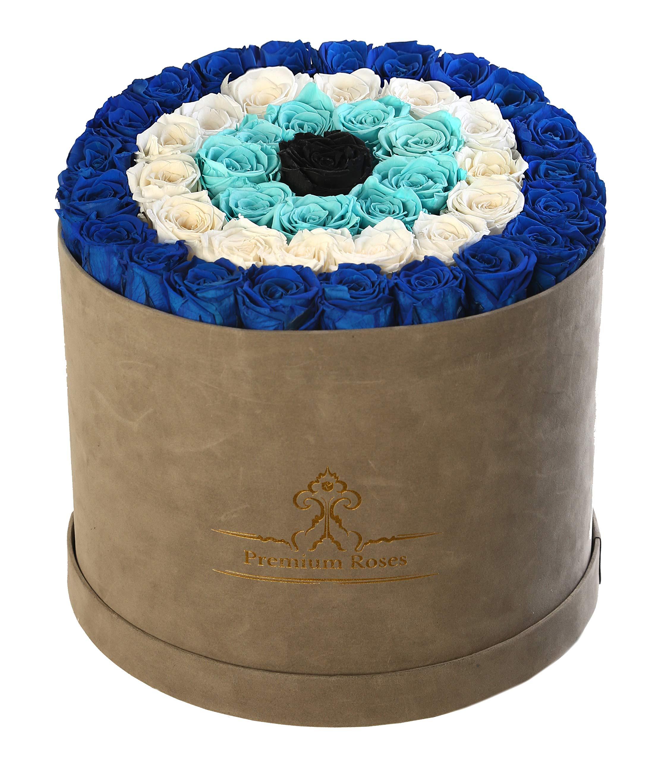 Premium Roses| Model Grey| Limited Edition| Real Roses That Last 365 Days| Fresh Flowers (Gray Velvet Box, Large)
