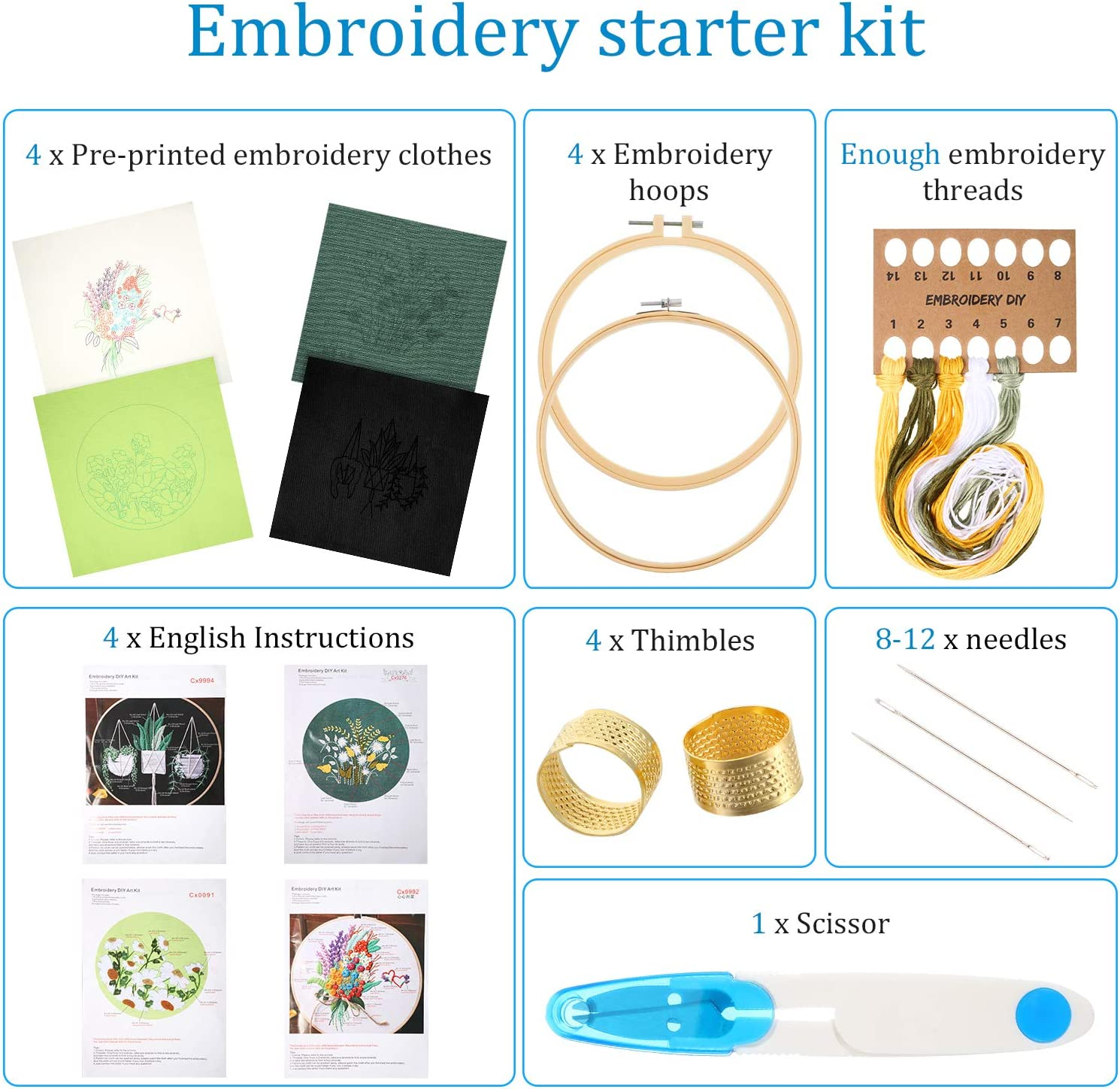 Plant Pattern Scissor Instruction for Beginners DIY Color Threads Thimbles WILLBOND 4 Sets Embroidery Starter Kit Full Range of Floral Embroidery Tool Kit Includes Hoops Cloths Needles