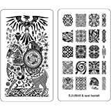 Ejiubas Double-Sided Nail Stamping Plates ** Celtics Style ** DIY Nail Art Template Nail Design Plates 1 Count