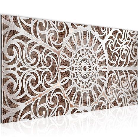 Bilder Mandala Abstrakt Wandbild Vlies - Leinwand Bild XXL Format  Wandbilder Wohnzimmer Wohnung Deko Kunstdrucke Braun 1 Teilig - MADE IN  GERMANY - ...