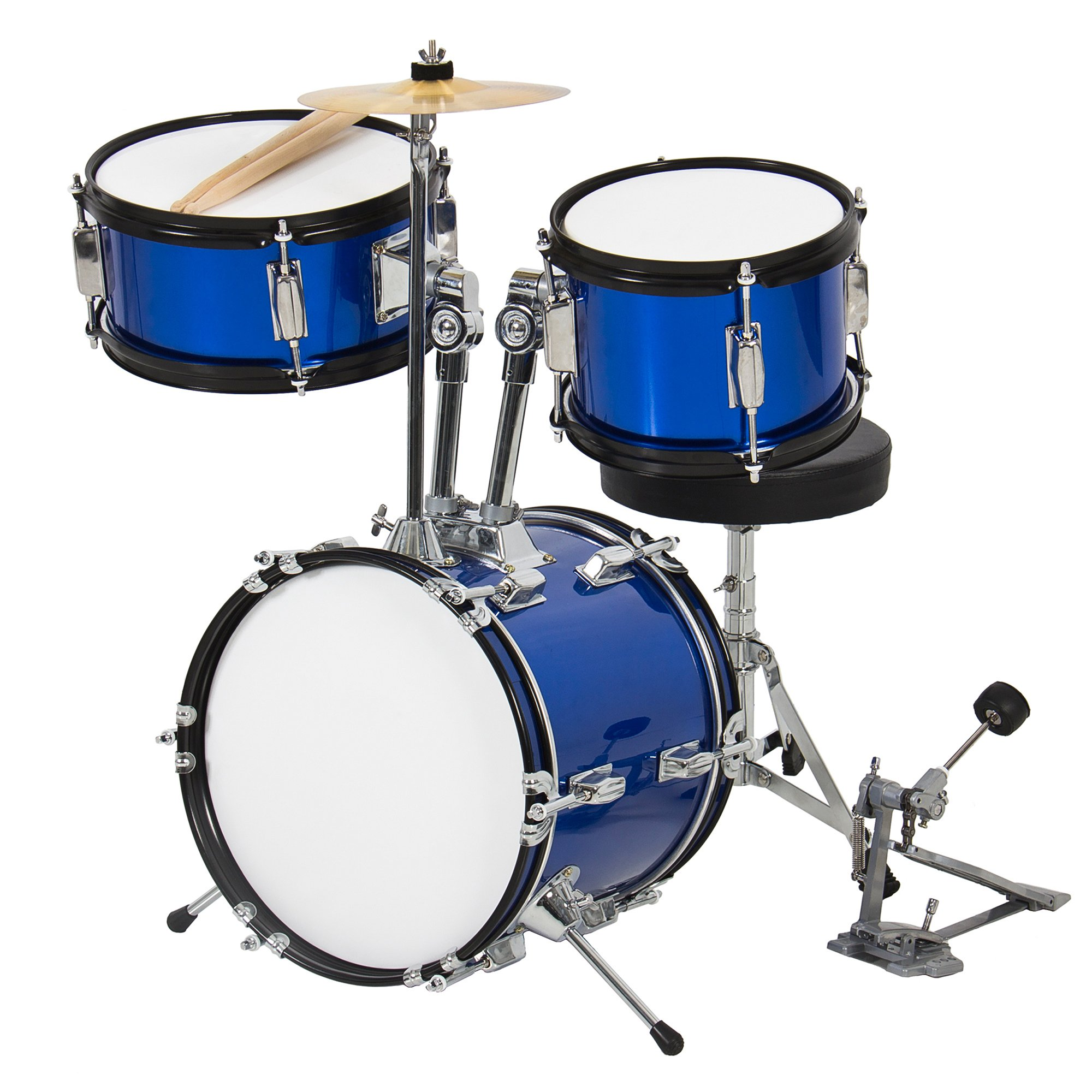 Best Choice Products 3-Piece Kids Beginner Drum Set w/ Sticks, Chair, and Drum Pedal -Blue