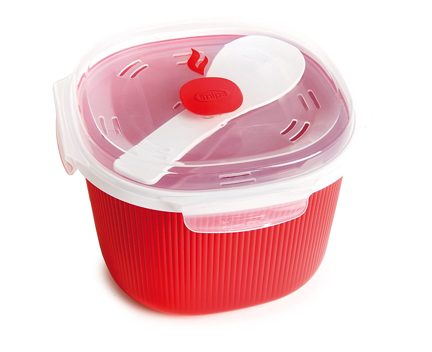 Snips Microwave Cookware Rice Cooker, 91.2 Oz./11.4 Cups, Red