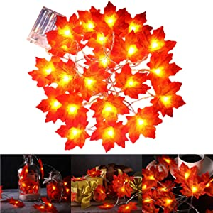 Fall Maple Leaf String Lights, GOTOP 9.8 Feet 20 LEDs 3AA Battery Operated Fall Leaves Fairy Lighted Garland Light Up Fall Decor, Perfect for Christmas Thanksgiving Party Indoor Outdoor