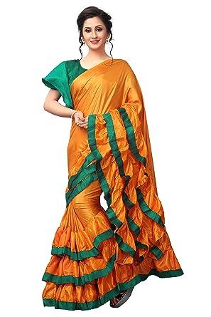 3f53120985 Vastrang Sarees Art Silk Saree (Vs7018Orggrn_Orange-Green_): Amazon ...