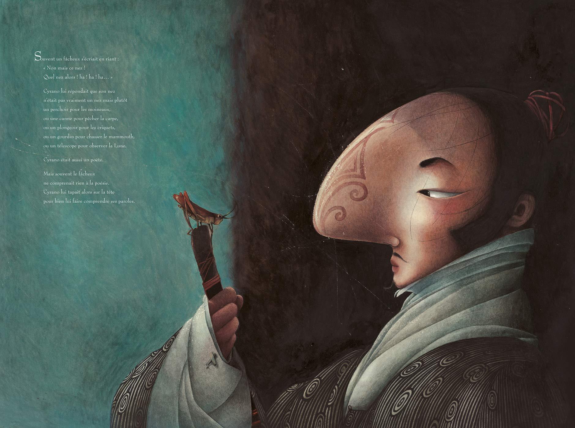 """Разворот из книги """"Сирано де Бержерак"""", проиллюстрированной французской иллюстратором Ребеккой Даутремер."""