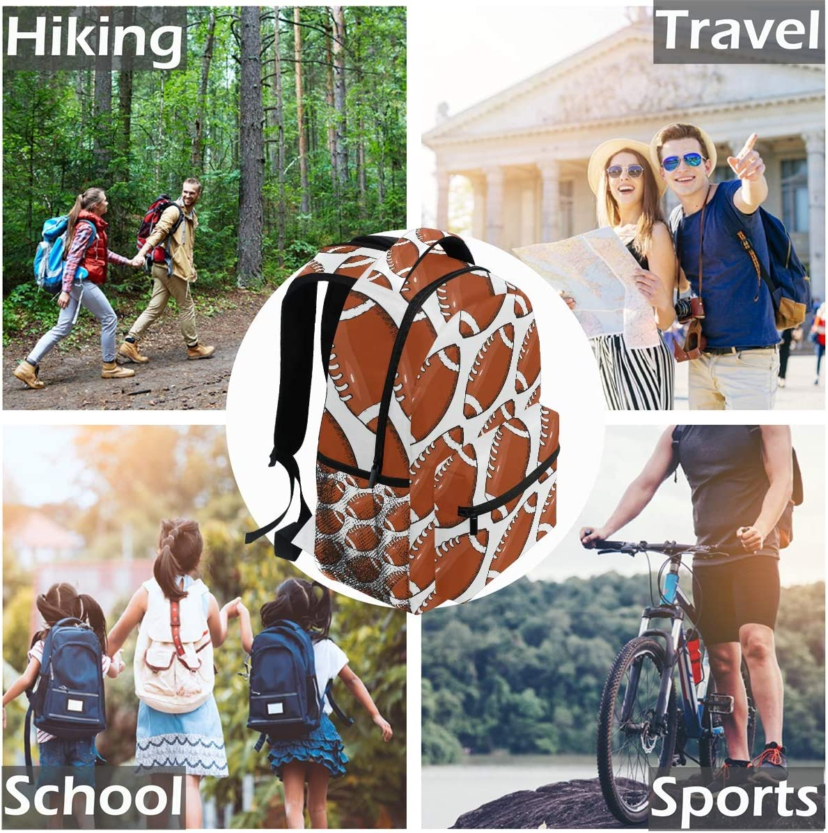American Football Hand Drawn School Bookbags Computer Daypack for Travel Hiking Camping Laptop Backpack Boys Grils