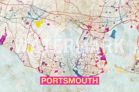 Map Of England Portsmouth.Tpck Portsmouth England Uk Artistic Modern Map Photo Poster