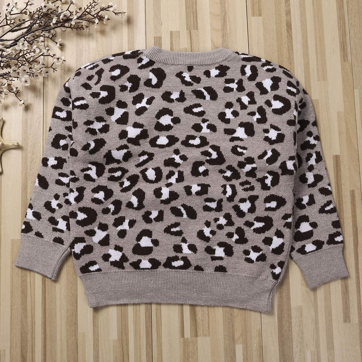 Toddler Kids Baby Girl Boy Leopard Sweater Casual Pullover Sweatshirt Tops Fall Winter Warm Clothes