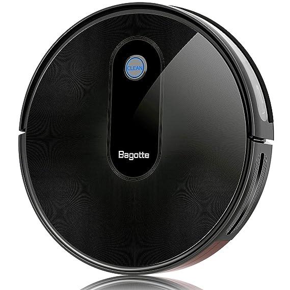 Bagotte Robot Aspirador BG600 - Robot de Limpieza con Gran Potencia de succión 1500 Pa, Potente batería, Ultra Delgado, silencioso, con 6 Modos de Limpieza ...