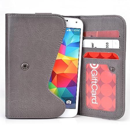 Funda tipo cartera Belt Clutch de Cooper Cases(TM) para smartphones de Vodafone Smart 4 Power / Prime 6 para sujetar al cinturón en Gris / Morado (Tira para ...