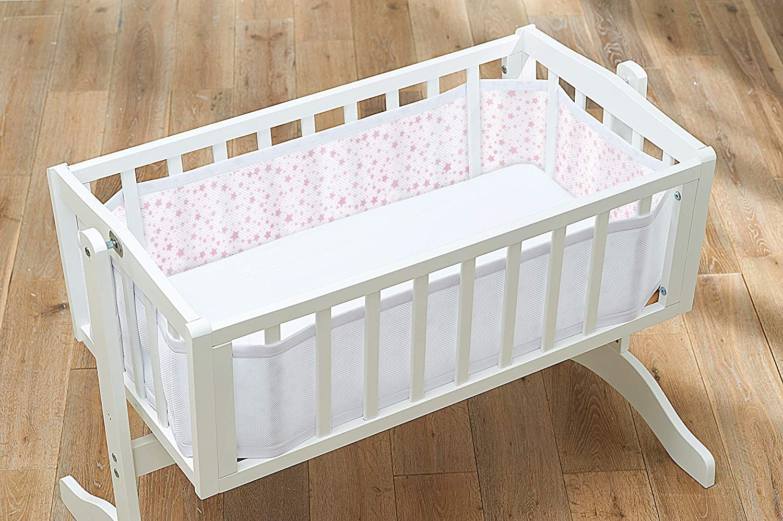 Breathable Baby Crib Mesh Liner, Twinkle Twinkle, Pink Stars Ardega Limited 28235