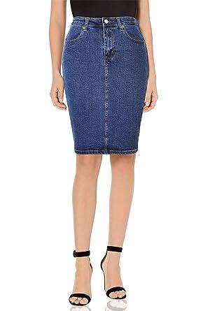 b1a06221b6a23e MONYRAY Jupe Femme en Jeans Taille Haute Courte Jupe Crayon Extensible  Denim Délavé avec Fendue sur Le derrière