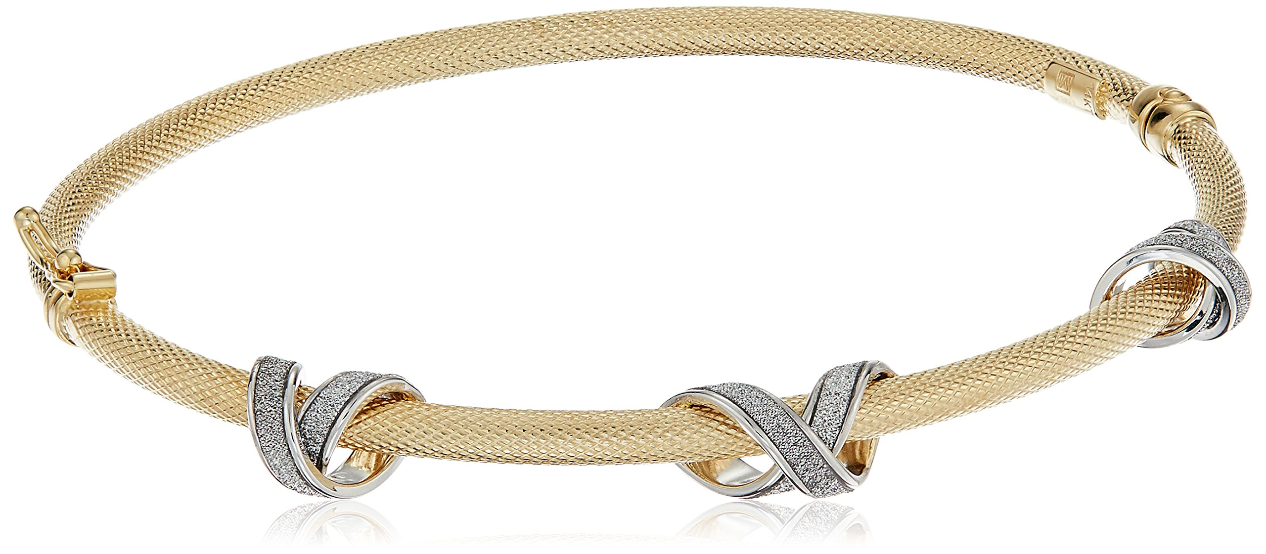 14k Two-Tone Gold Italian Textured Bangle with Triple Glitter ''X'' Design Bangle Bracelet