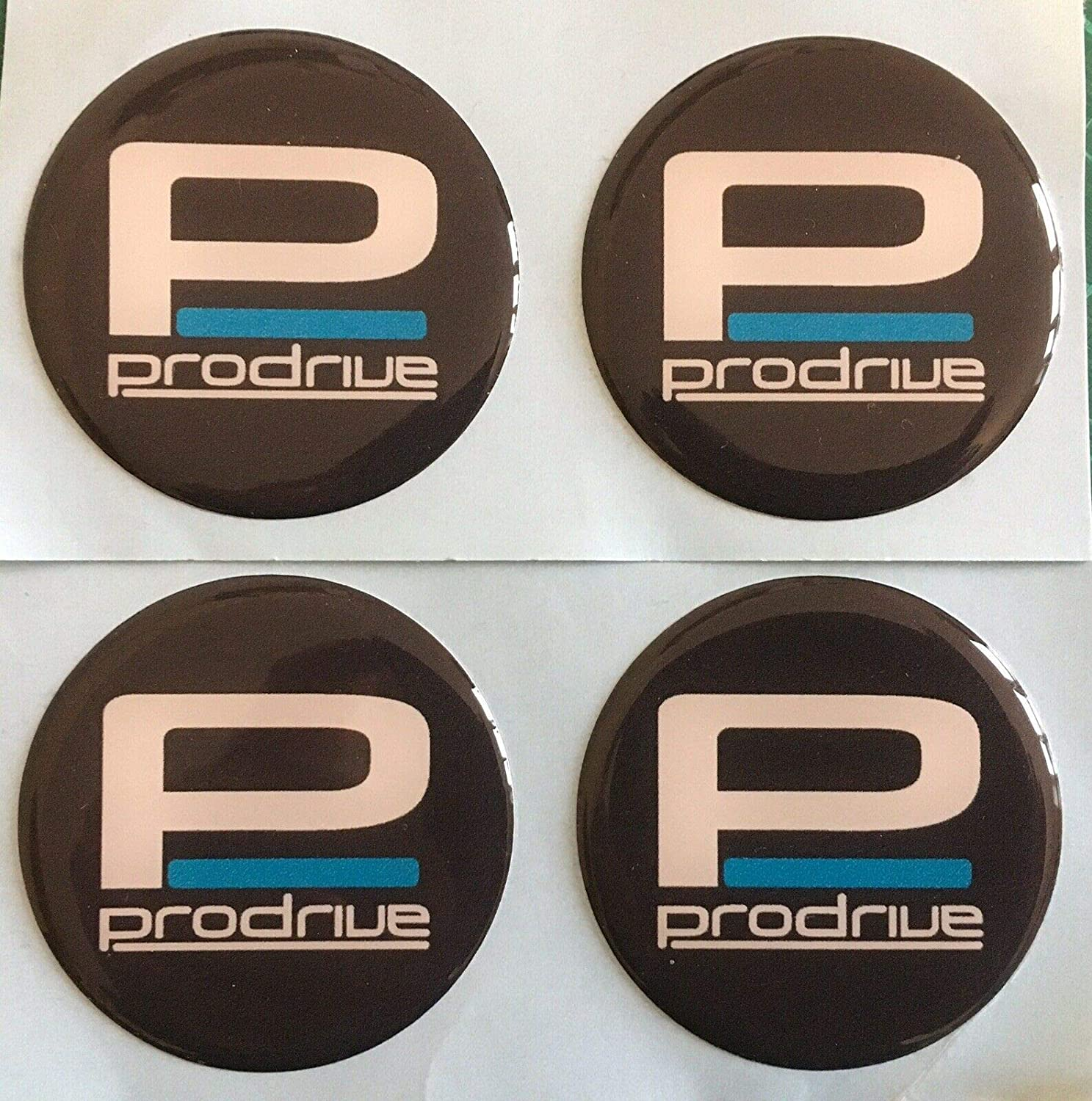 SCOOBY DESIGNS ALLOY WHEEL PFF7 PRODRIVE DOMED RESIN CENTRE CAP STICKERS X4 SUBA BLACK WHITE 60MM