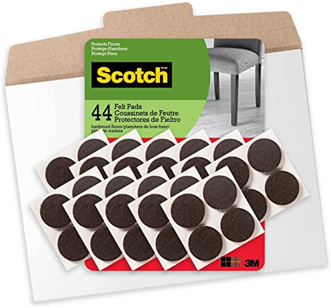 Scotch Mounting, Fastening & Surface Protection FP821-44NA 1 Inch Felt Pads in Easy to Open Packaging, 44, Brown